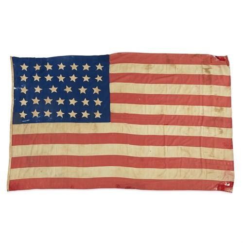 Lot 50 - A 34-Star American Flag commemorating Kansas statehood with Civil War provenance