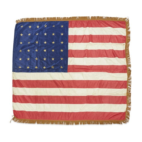 Lot 60 - A ceremonial 36-Star American military Flag commemorating Nevada statehood