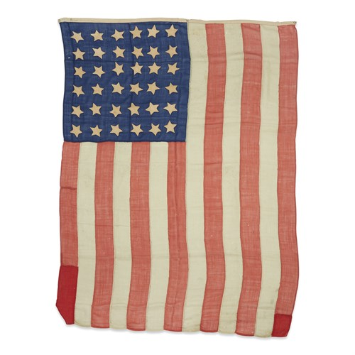 Lot 59 - A 36-Star American Flag associated with the funeral procession of Abraham Lincoln (1809-1865)