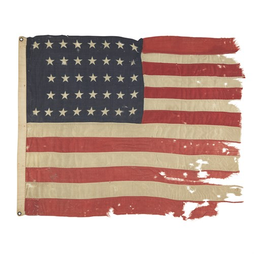 """Lot 66 - A 37-Star American Flag associated with Native American Modoc Chief Kintpuash, also known as """"Captain Jack"""""""