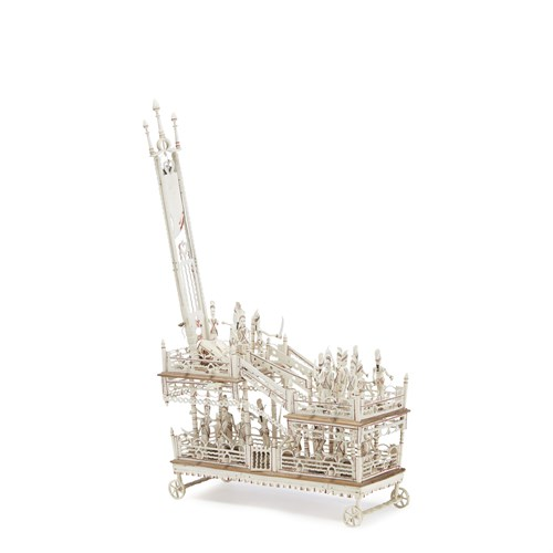 Lot 67 - Napoleonic Prisoner-of-War carved and polychromed bone model of a guillotine