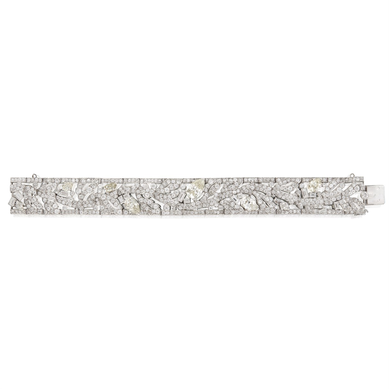Lot 191 - A diamond and platinum strap bracelet, Cartier