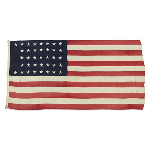 Lot 65 - A 37-Star American Flag used in the Hayes/Wheeler Presidential Campaign