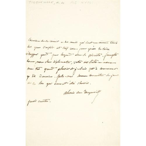 Lot 9 - [Autographs & Manuscripts] Tocqueville, Alexis de