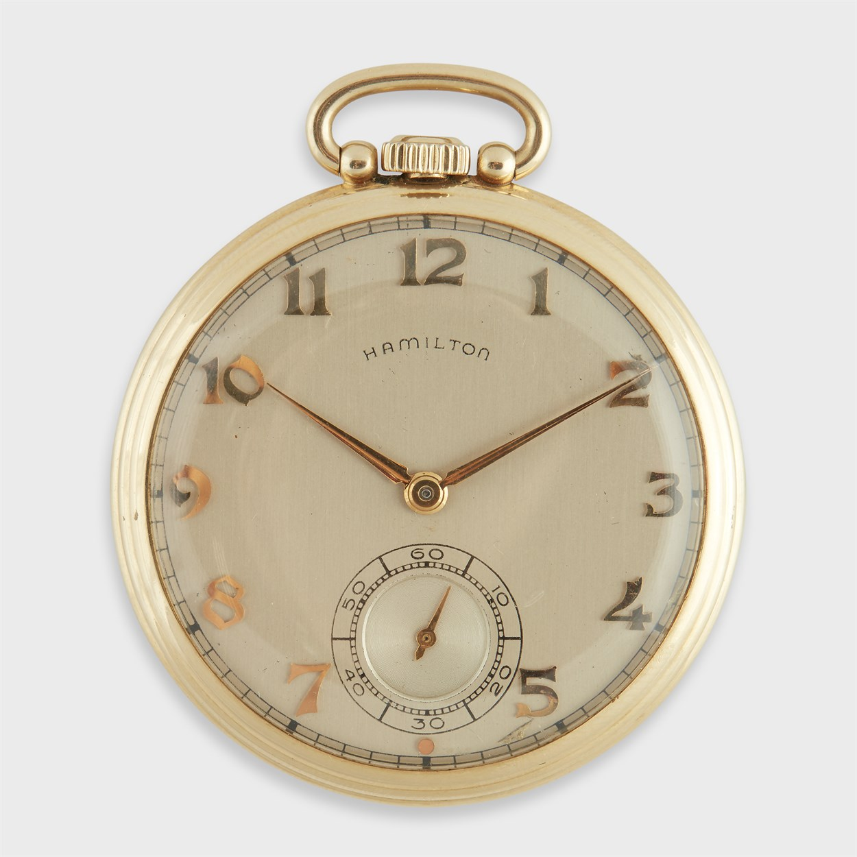 Lot 184 - A collection of two fourteen karat gold open face pocket watches, Bulova and Hamilton