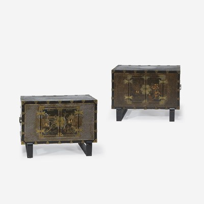 Lot 121 - A pair of Korean mother of pearl-inlaid lacquered wood chests