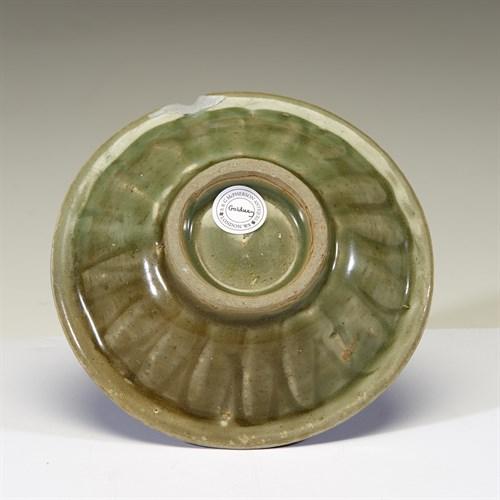 "Lot 61 - A Chinese Longquan celadon ""Twin Fish"" small dish"