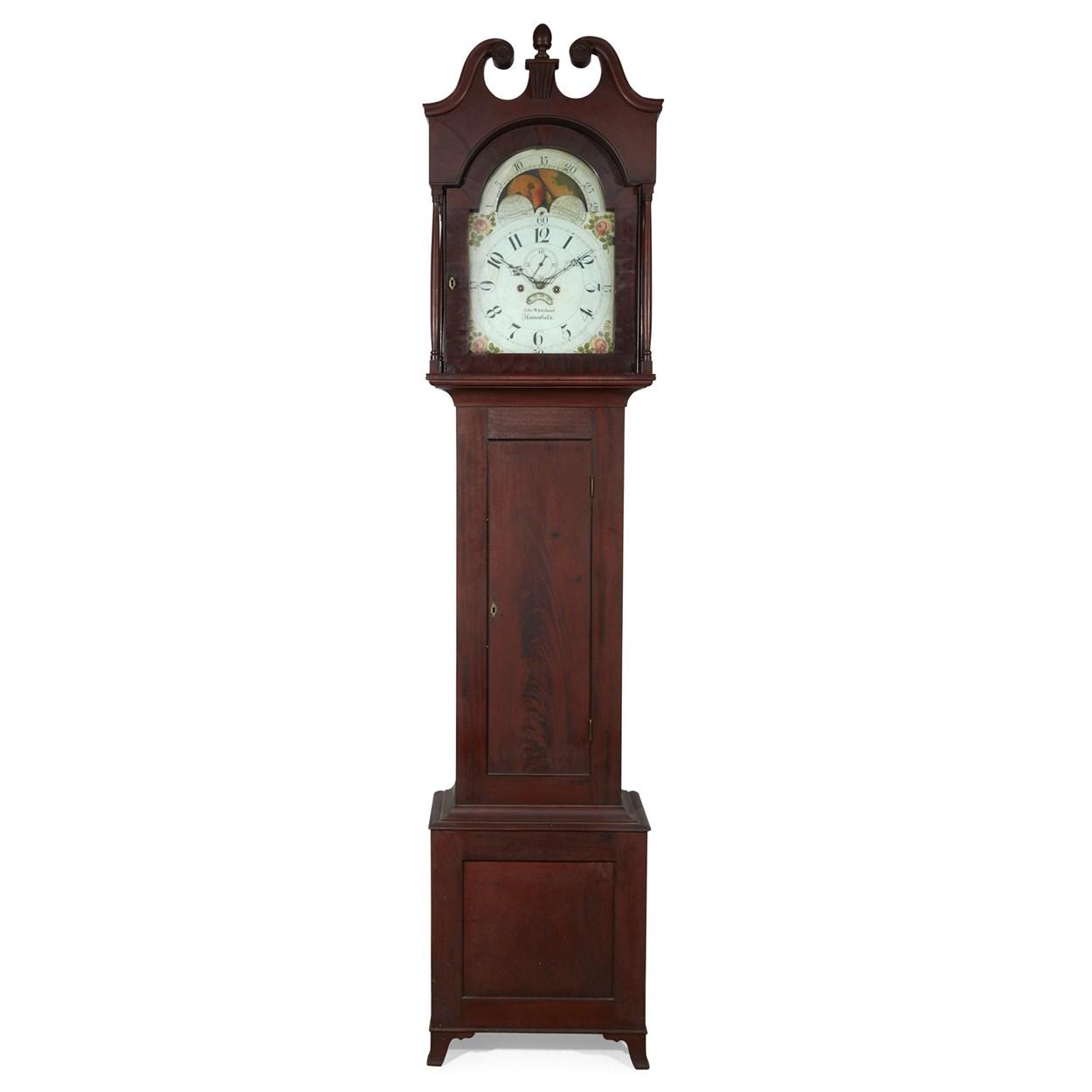 Lot 13 - Federal mahogany tall case clock