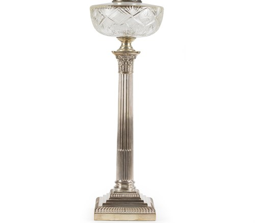 Lot 39 - Sterling silver and crystal lamp