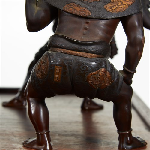 Lot 189 - A rare and impressive Japanese patinated bronze censer and cover with original wood stand, Miyao