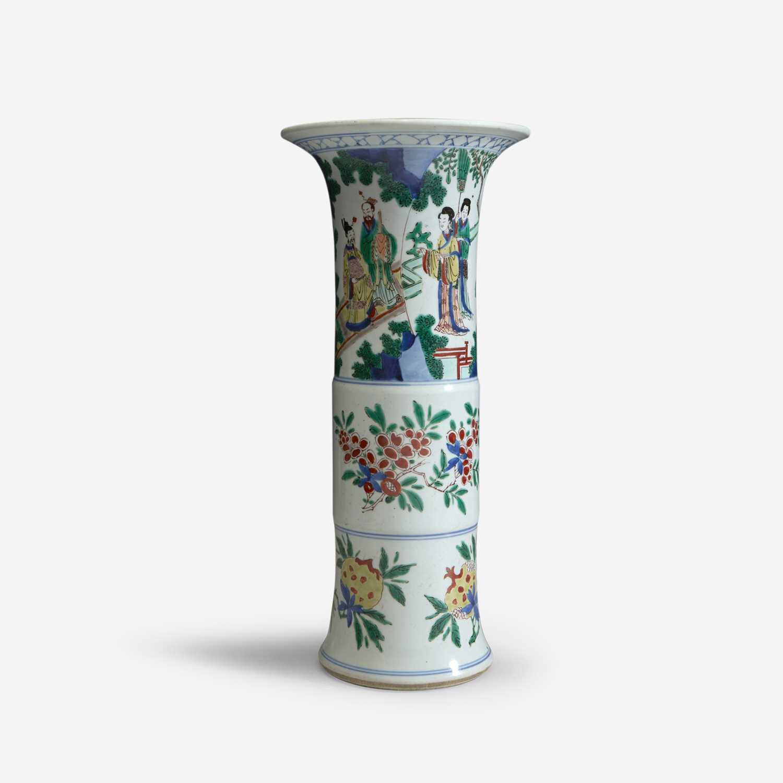 Lot 4 - A Chinese wucai-decorated porcelain beaker vase
