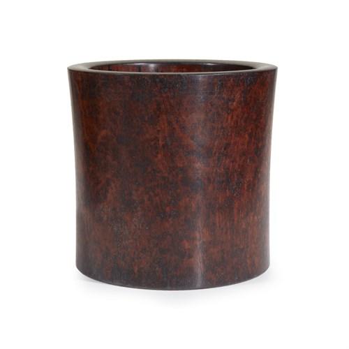 Lot 59 - A Chinese circular hardwood brushpot