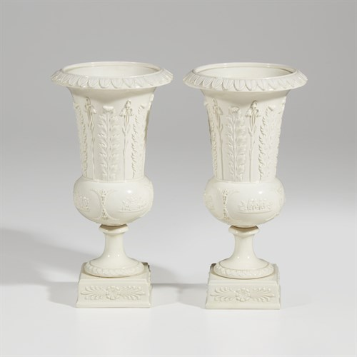 Lot 11 - A pair of Wedgwood creamware vases