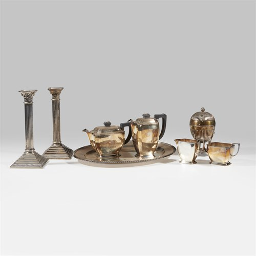 Lot 8 - Eight-piece silverplate group