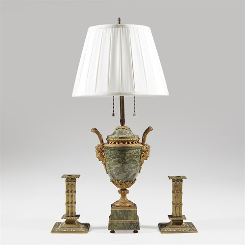 Lot 41 - Ormolu, marble and brass group