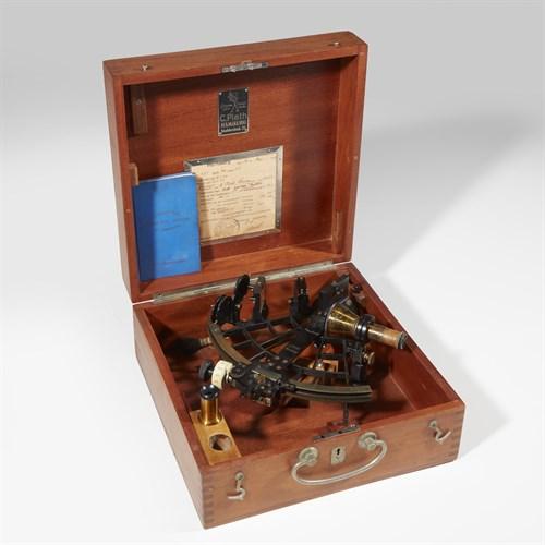 "Lot 5 - WWII German ""C Plath""  Marine Sextant in case"