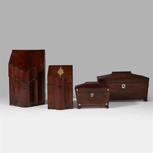 Lot 4 - Four mahogany boxes