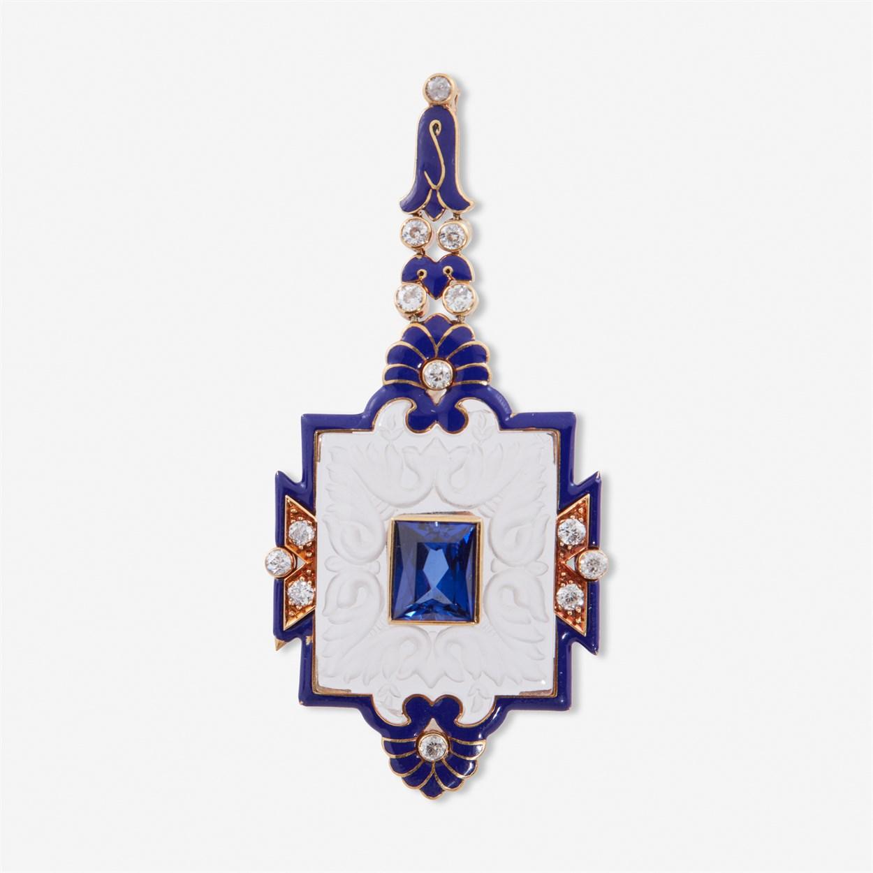 Lot 9 - An Art Deco rock crystal, enamel, diamond, and synthetic sapphire pendant, Cartier