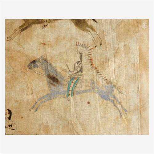 Lot 286 - A Great Plains pictographic War Record on muslin