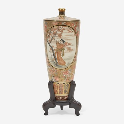 Lot 131 - A Japanese Satsuma-type enameled pottery cabinet vase, Shizan