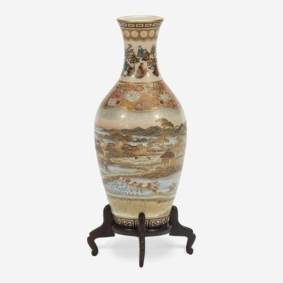 Lot 130 - A Japanese Satsuma-type enameled pottery cabinet vase with wood stand, Yabu Meizan