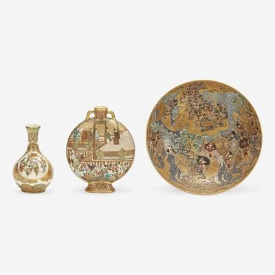 Lot 133 - Three small Japanese Satsuma-type enameled pottery cabinet pieces