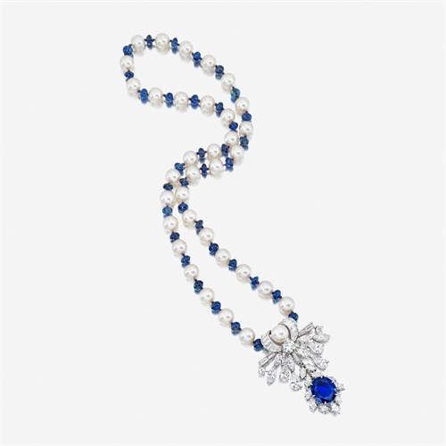Lot 117 - A sapphire, diamond, and cultured pearl pendant brooch necklace