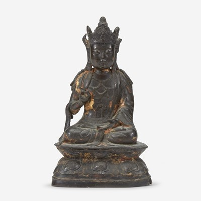 Lot 51 - A Chinese lacquered bronze figure of Guanyin 铜加漆观音造像
