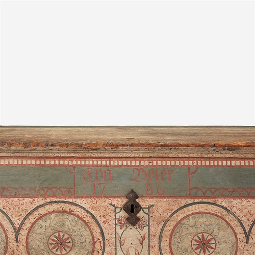 Lot 64 - A painted and decorated poplar dower chest for Eva Beier (1767-1854)