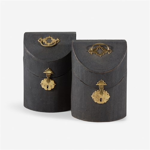 Lot 132 - A pair of George II shagreen knife boxes