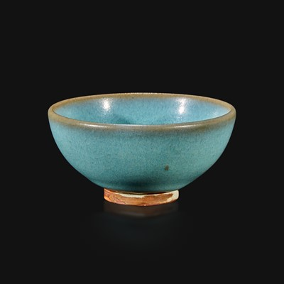 "Lot 29 - A Chinese Jun-type small ""bubble"" teabowl"