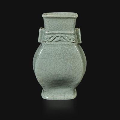 "Lot 14 - A Chinese ""Guan""-type glazed vase, Fang Hu"