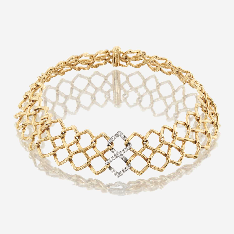 Lot 61 - A diamond, platinum, and eighteen karat gold choker, Tiffany & Co.