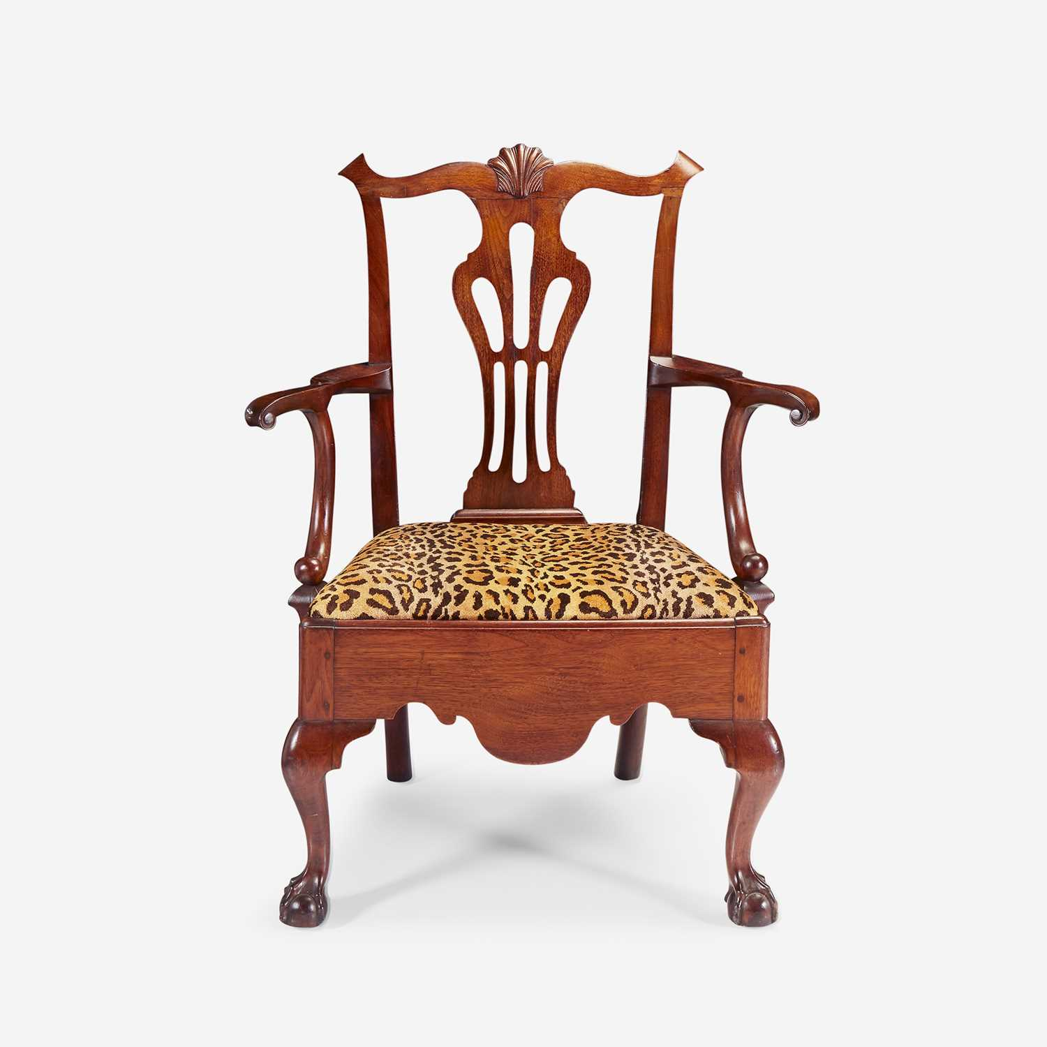 Lot 75 - A Chippendale walnut armchair
