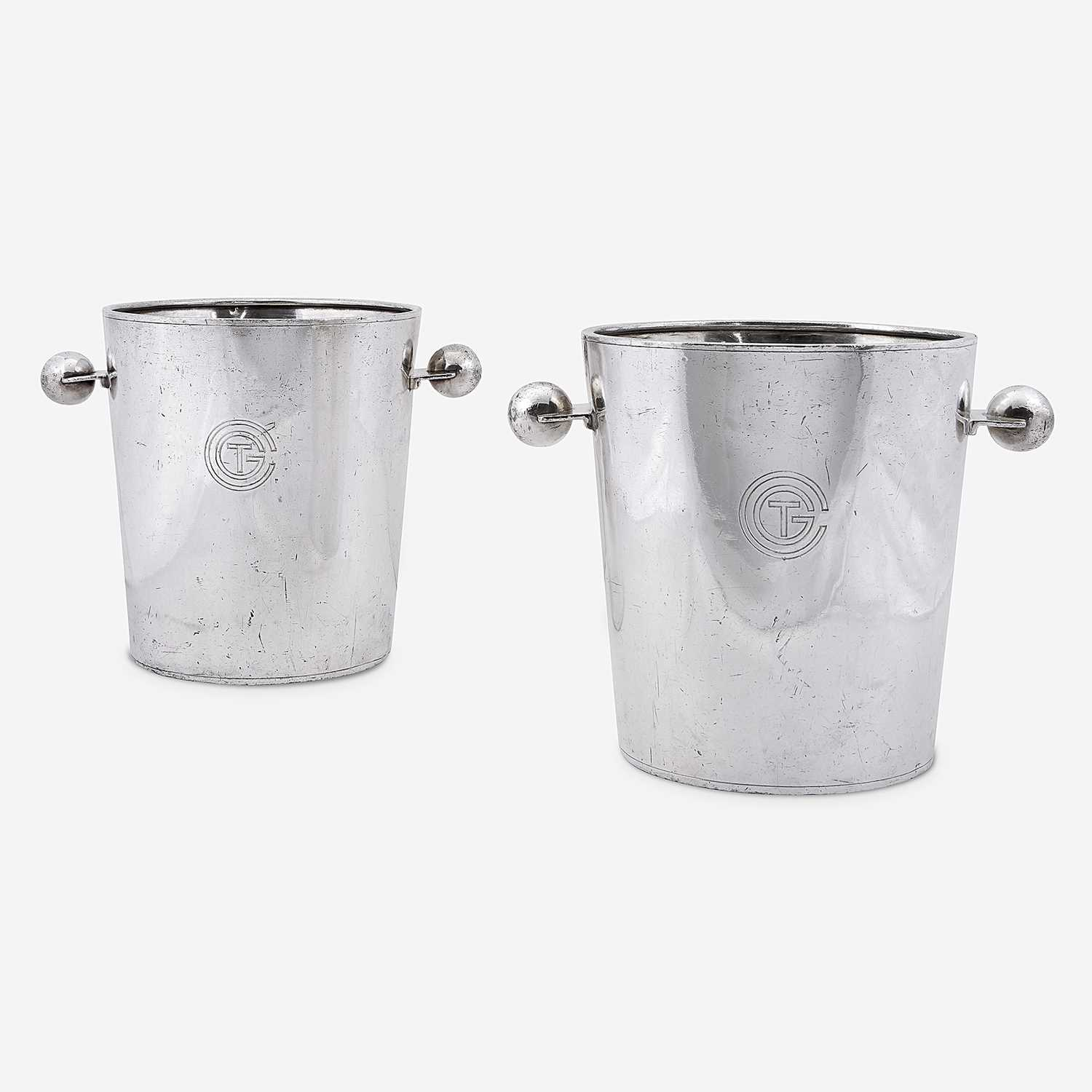 Lot 399 - A Pair of Silver-Plated 'Transat' Champagne Buckets from the S.S. Normandie