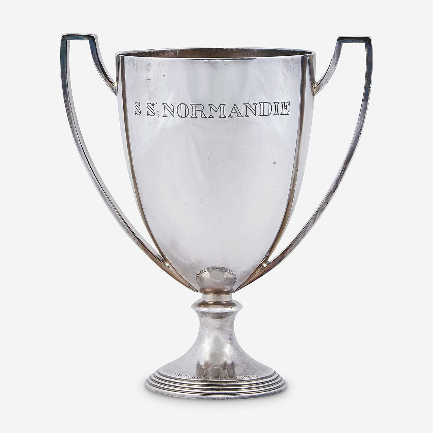 Lot 402 - A Silver-Plated Two-Handled Trophy from the S.S. Normandie