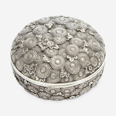 Lot 126 - A finely-executed Japanese silver incense box and cover, Kogo