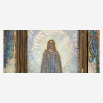 """Lot 174 - An Arts & Crafts Brass and Foil-Backed Enamel Triptych Altarpiece, """"Behold I Stand at the Door and Knock"""""""