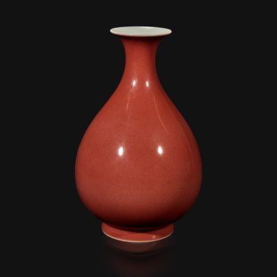 Lot 17 - A Chinese copper red-glazed bottle vase