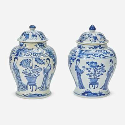 Lot 7 - Two similar Chinese blue and white porcelain baluster jars and covers