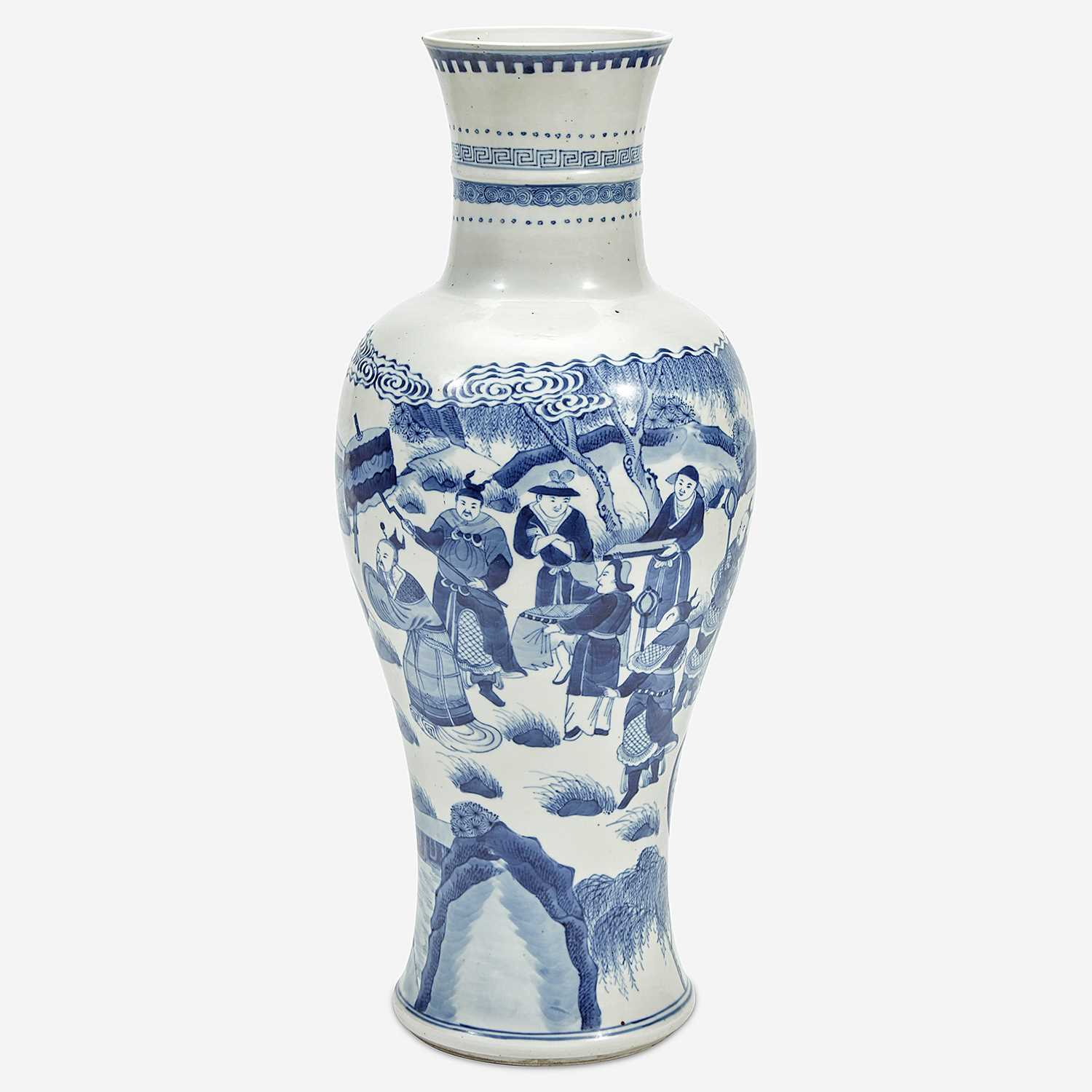 Lot 40 - A Chinese blue and white porcelain tall baluster base 青花大瓶