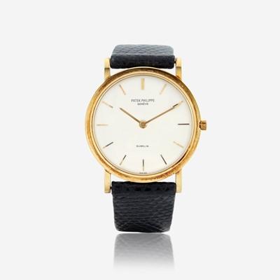 Lot 129 - An eighteen karat gold strap wristwatch, Patek Philippe, retailed by Gubelin