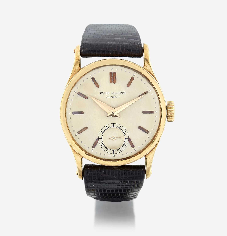 Lot 127 - An eighteen karat gold strap wristwatch, Patek Philippe