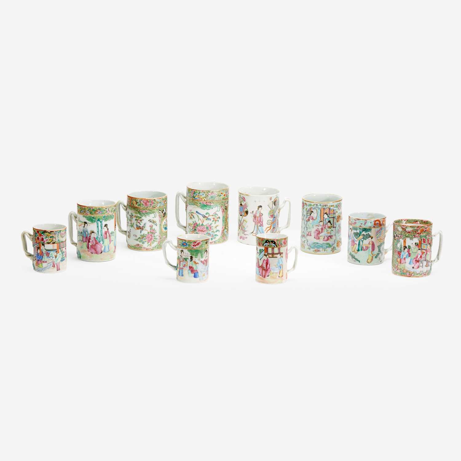 Lot 77 - A Collection of Ten Chinese Export Porcelain Famille Rose and Rose Medallion Coffee Cans