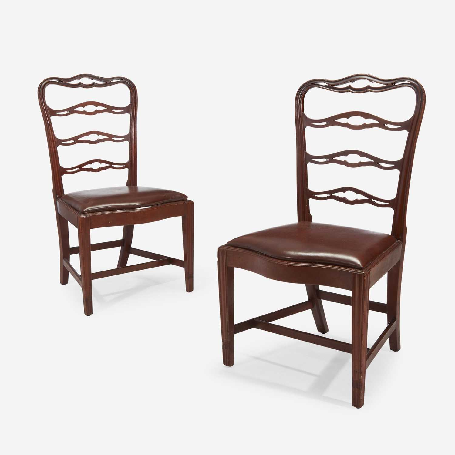Lot 66 - A pair of Chippendale mahogany ribbon-back side chairs