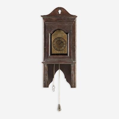Lot 18 - A George I oak and brass wall clock