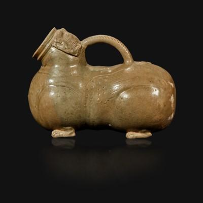 Lot 22 - A Chinese Yue ware chimera-form celadon vessel, Huzi