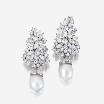 Lot 83 - A pair of diamond, South Sea cultured pearl, and platinum earrings