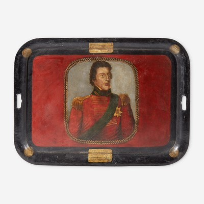 Lot 121 - A German toleware tray commemorating the Duke of Wellington (1769-1852)