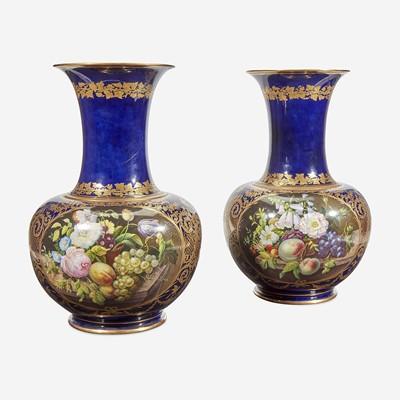 Lot 51 - A Pair of Paris Porcelain Handpainted Floor Vases